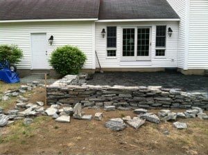 Building Blue Stone Wall